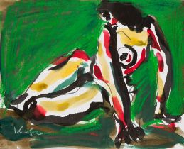 Seated Colored Nude in front of a Green Background, around 1991 Mixed technique (felt pen,
