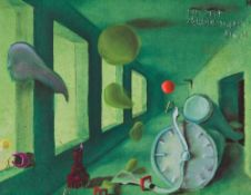 Time Crushes Me Oil on canvas Titled and provided with the first initial upper right 15,7 x 20,6