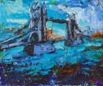 Tower Bridge, 2000 Oil on canvas Signed lower right and verso signed, dated and with dedication 19,7