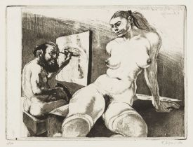 Little Painter and Model from the Beauty and Beast series, 1970 Aquatint etching Signed and dated