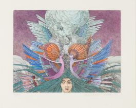 Fantastic Headdress etching colored by hand Signed and dated lower right, numbered lower left: 42/50