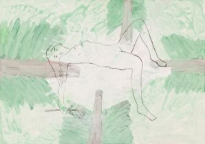 Woman in a Forest Clearing, 2001 Acrylic on canvas Signed and titled verso 19,7 x 27,6 in framed
