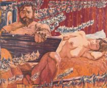 Self-portrait with Helga, 1970 Colored aquatint etching Signed and dated lower right, numbered lower