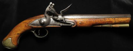 Flintlock Light Dragoon pistol by D. Egg. Plain barrel and tang, proof marks to barrel, and