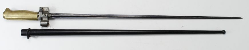 "French Model 1886/93/16 WW1 Lebel bayonet (""Rosalie"") triform slim blade 20.5"" inches. Brass hilt,"