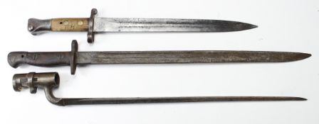 Bayonets: British Bayonets without scabbards. 1) PO7 by Wilkinson dated 11.17 (Nov: 1917). 2)