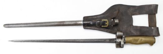 French cruciform bayonet with metal scabbard and leather frog. (total length approx 18.5 inches)