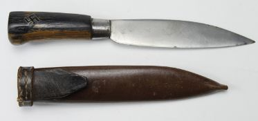 German Nazi youth knife in leather scabbard. Blade maker marked 'Toko Rotterdam', scabbard