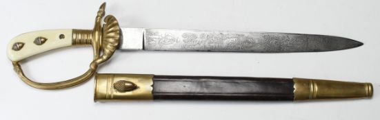German Hunting Association Cutlass, issue stamp Nr 7 in shield to blade, bone grips. Nice engraved