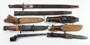 Bayonets - mixed lot inc 1918 SMLE, Pig Sticker, AK47, VZ58, SMLE spare scabbard. (8 items)