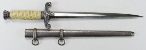 German Nazi Army Dagger with Scabbard. Blade maker marked 'Alcosa Solingen'.
