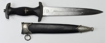 German Nazi replica SS Dagger with scabbard, maker marked 'RZM M7/36'.