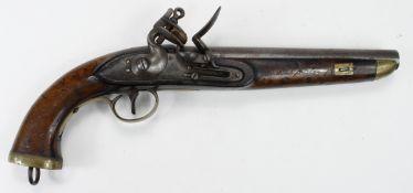 Belgium early 19th Century Sea Service, Flintlock Pistol, swan neck cock. Belgian proof to barrel.
