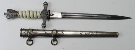German Nazi replica Naval Dagger with scabbard, no makers mark