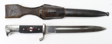 German Nazi Hitler Youth knife, with scabbard and leather frog. No makers marks