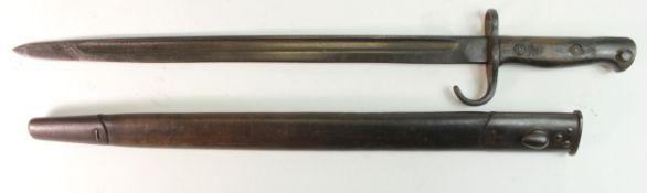 Bayonet 1907 pattern hook Quilon unit marked on pommel