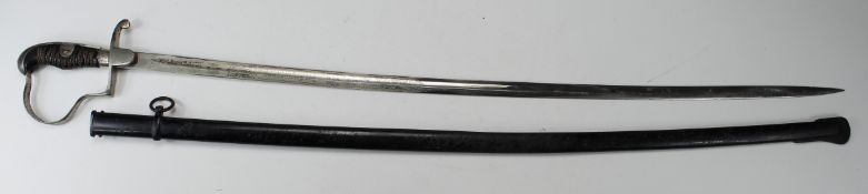 German Nazi NCO's Sword with single ring scabbard. Blade maker marked 'Alcoso Solingen'. Blade