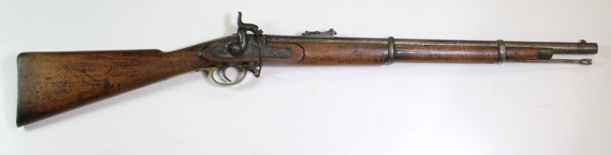 Enfield two band percussion rifled carbine dated 1857 with VR tower lock stamped on the tail plate I