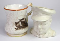 """Churchill 1940 pottery character jug dated 1940 - bottom reads """"We shall defend every village, every"""
