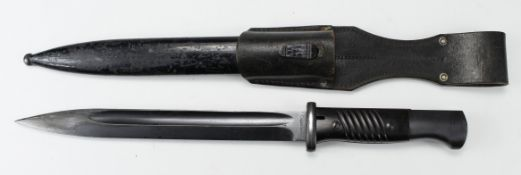 German Army bayonet with metal scabbard and leather frog. Blade marked '2242 n' and 'Coppel G.m.b.