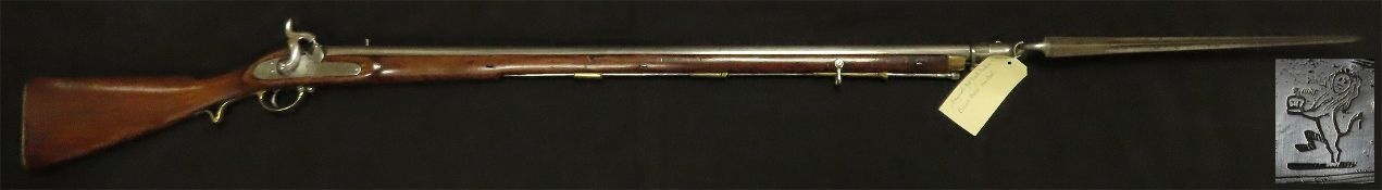 """East India Company Percussion Musket with """"New Series side lock"""" and Hanoverian Bayonet catch 1845-"""