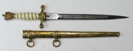 German Nazi Naval Dagger, with scabbard, blade maker marked 'Original Eickhorn Solingen'.