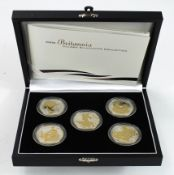 Britannia Golden Silhouette Collection 2006, a set of five selectively gilt and frosted silver proof