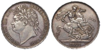 Crown 1821 Secundo, S.3805, lightly toned EF, a few hairlines.