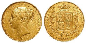 Sovereign 1839 VF, a few marks.