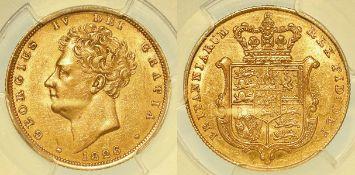 Sovereign 1826, slabbed PCGS AU55.