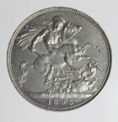 Crown 1893 LVI, lightly cleaned EF, edge knock (ex-mount?)