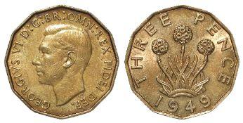 Brass Threepence 1949 EF