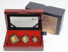"""Britannia Three coin set """"Premium"""" (1/2, 1/4 & Tenth oz) 2019 FDC boxed as issued"""