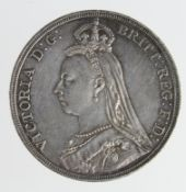 Crown 1887 iridescent toned EF, a few hairlines.