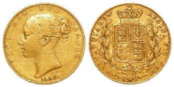 Sovereign 1841, rare date, F/GF