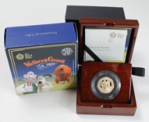 """Fifty Pence 2019 gold proof """"Wallace & Gromit"""" FDC boxed as issued"""
