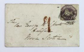 GB - 1855 cover, Dumfries to Nova Scotia. A rectangular horizontal bar 108 cancel of Scotland on a