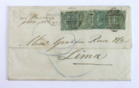 GB - Cover 1867 - Halifax to Lima (South America). Halifax duplex cancelling x4 1s green (SG101)