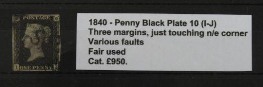 GB - 1840 QV Penny Black Plate 10 (I-J) three margins, just touching n/e corner, various faults,
