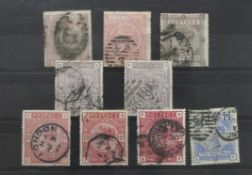 GB - QV High Values with faults or Perfins, 1867-83 5/- x2 and £1 maltese cross wmk, 5/- one with