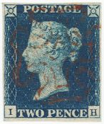 GB - 1840 Two Pence blue, Plate 1 (I-H), four margins, no faults, fine used, cat £975
