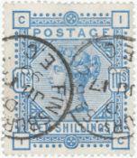 GB - QV 1883/4 10s pale ultramarine, white paper, SG183a. Good colour, two part Finsbury (Circus) EC