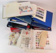 GB - a substantial clear plastic tub of material in albums and stockbooks (approx 12), album pages