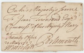 GB - early historical cover sent 29 May 1727 by Josiah Burchett, Admiralty Office (hand signed by
