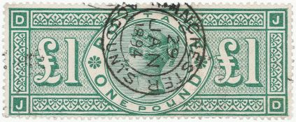GB - QV £1 green used, SG212, Manchester Accounts double ring cds dated 29 JAN 1894. Cat £800