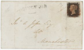 GB - 1840 Penny Black, Plate 2 (B-L) wrapper, four good margins, just tied, York to Manchester JY 20