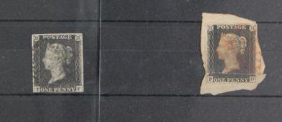 GB - 1840 QV Penny Blacks Plate 6 (T-F) three margins, diagonal crease fair used, plus Plate 1b (P-