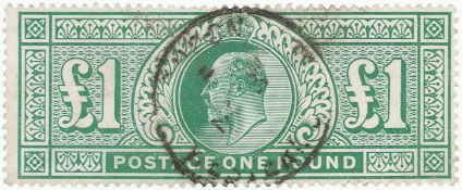 GB - EDVII 1902 £1 dull blue green, fine used cds example, SG266, cat £825