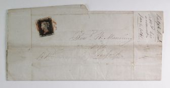 GB - QV 1840 Penny Black, three good margins, 4th touching at bottom right, on cover (M-A) tied with