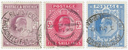 GB - EDVII used high values 2/6d, 5s and 10s. Good colour and perfs, cat £880+. (3)